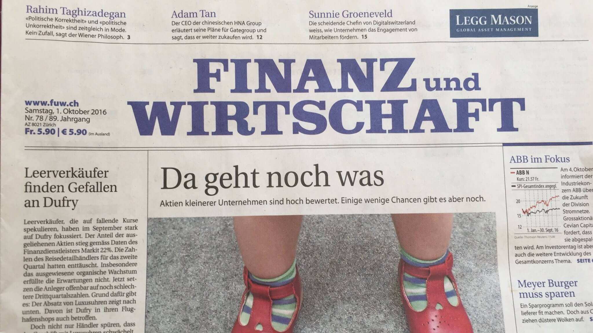 We Made the Frontpage of Finanz und Wirtschaft